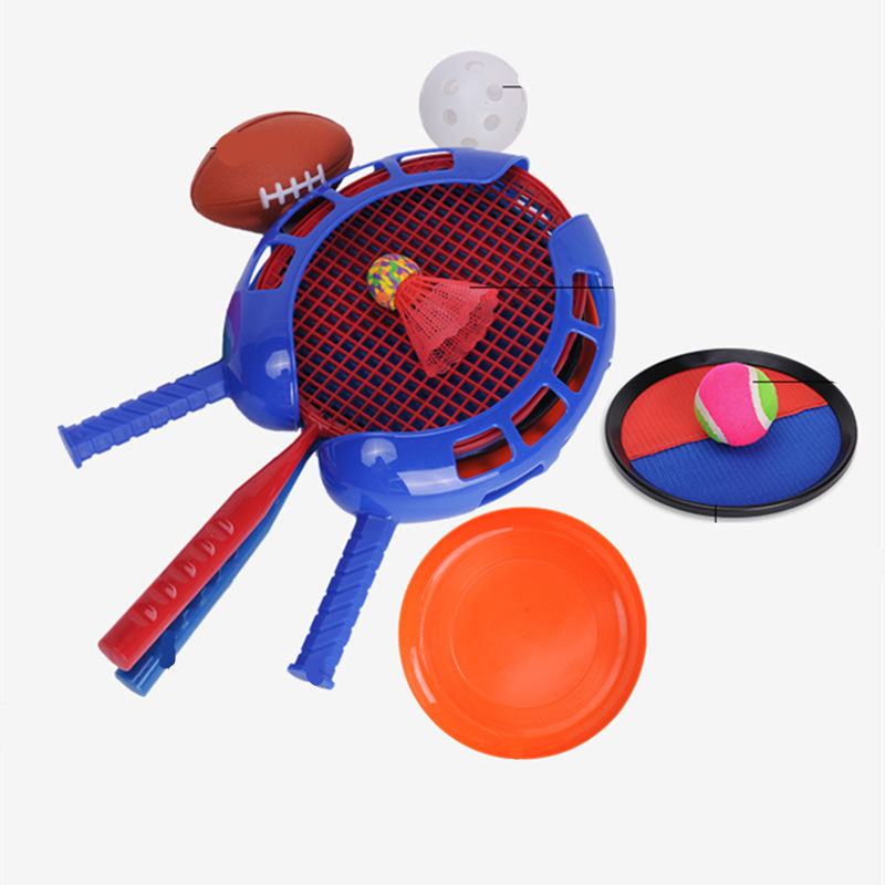 Flying Disc En Rubgy Voetbal Vangst Stok <span class=keywords><strong>Racket</strong></span> Bal Game Kinderen Badminton Spel Combinatie Vijf In Een