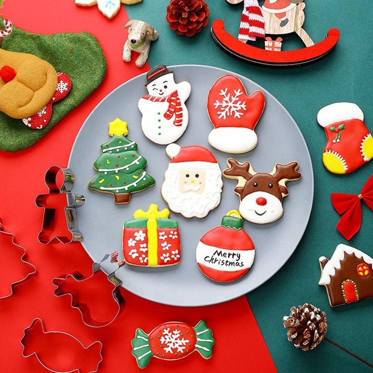 kids boys girls winter holiday snowflake embossed handmade diy sugarcraft plunger mould cookie cutter