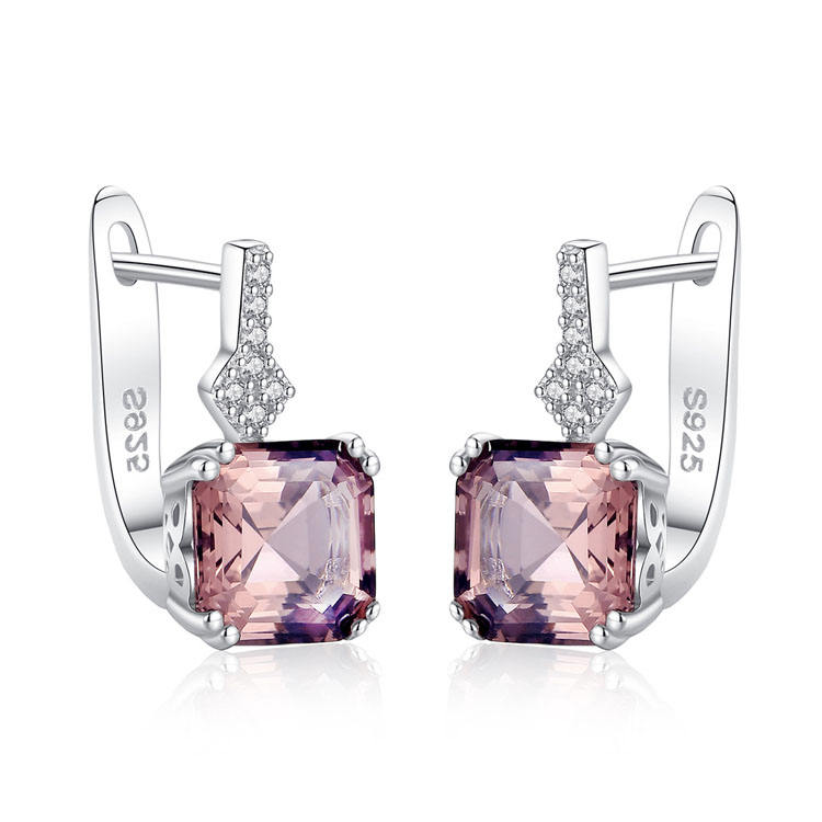 S925 sterling silver pink earrings statement fashion morganite earring Valentine's Day gift