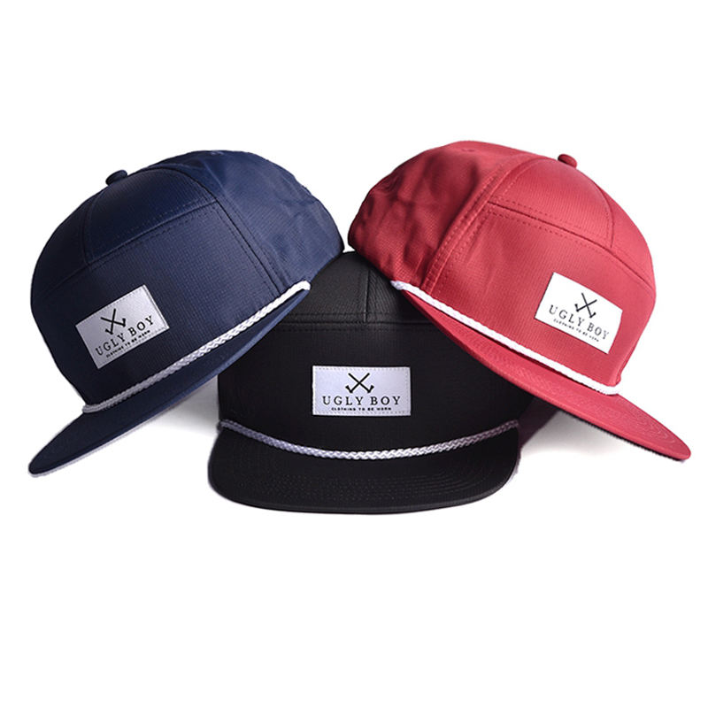 High quality wholesale 7 panel wholesale custom blank rope nylon snapback cap hat