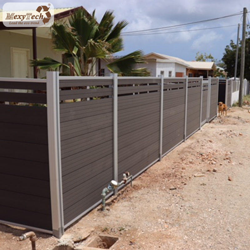 Mecofence wpc composite wood gates and fences design border fence trellis fencing
