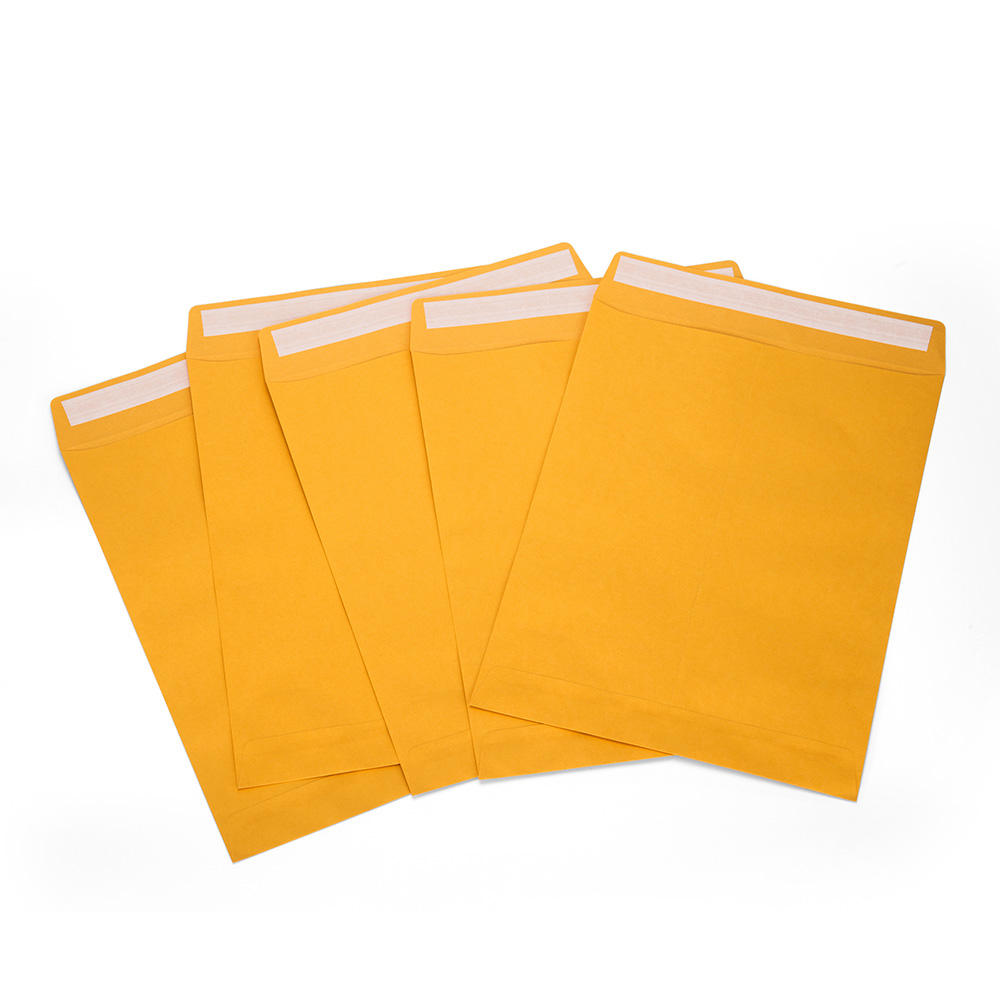 a4 peel and seal High quality silicone glue Glod Paper envelopes brown