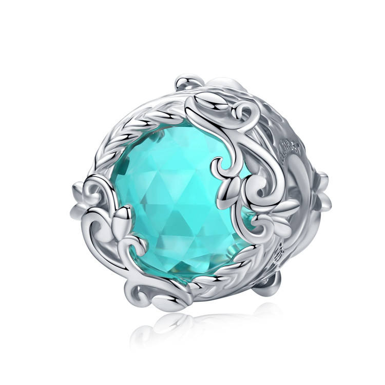 Qings Blue Glass Bead Charms OEM/ODM 925 Sterling Silver Plated Platinum Secret Garden Charm Pendant