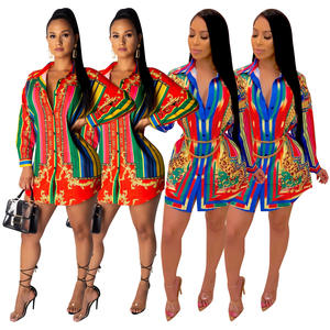 Fashion African Clothing Colorful Tall Blouse Women's Clothing Casual Green Stripe Shirt Dress