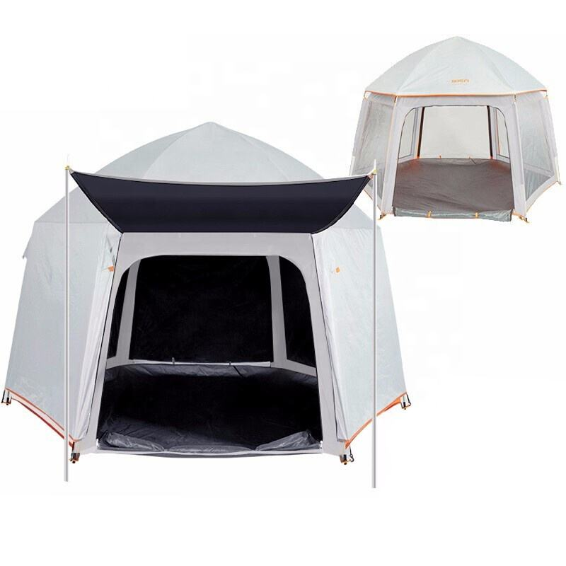 Outdoor Portable foldable Camping Hexagonal Double Layer Large Family Sun protection Leisure Travel beach tent