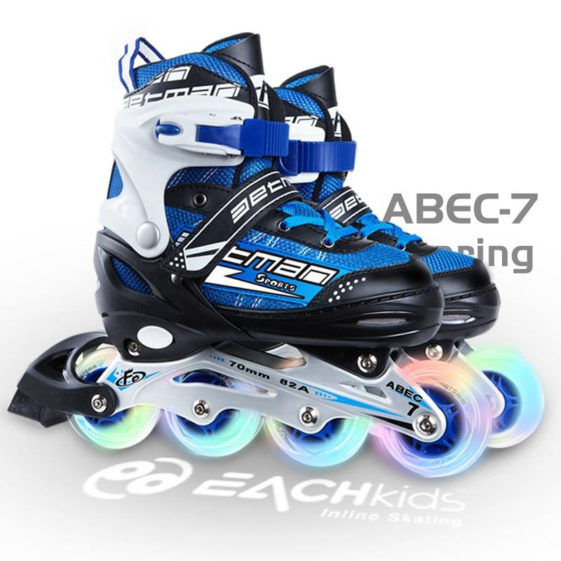 Factory wholesale cheap adjustable flashing children inline roller skates for kids