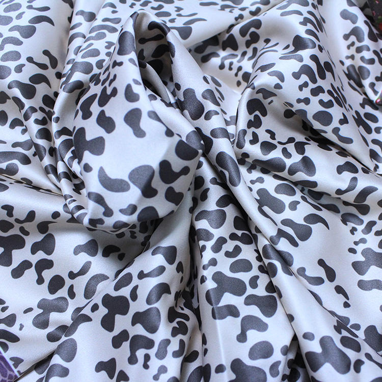 Cow Print Satin Fabric 100% Polyester for Sleepwear Dresses