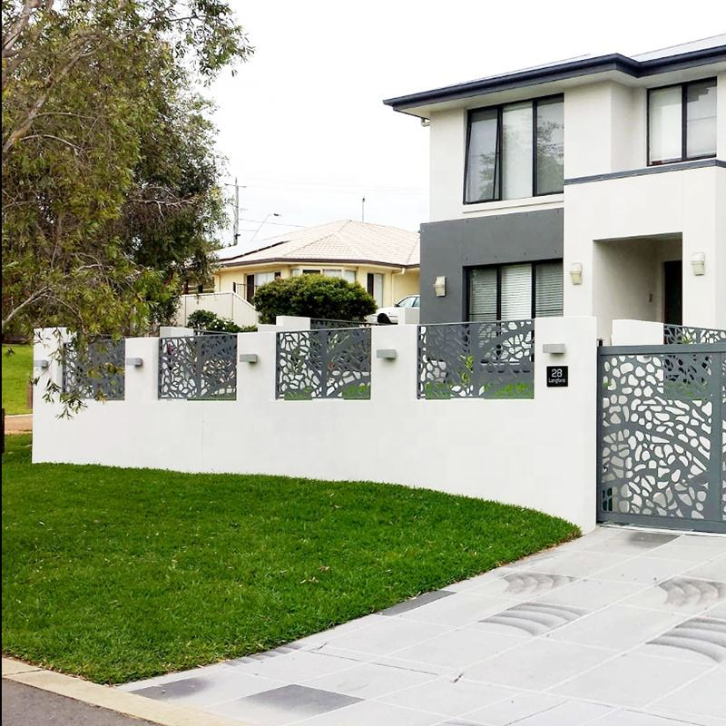 Outdoor Modern Design Iron Aluminum Feceing Laser Cutting Driveway Fence Gate