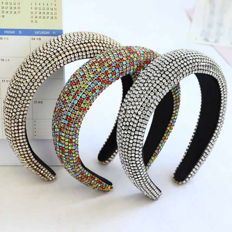 Luxury Full Rhinestones Headbands 4cm Wide Sponge Padded Headband Women Hair Accessories