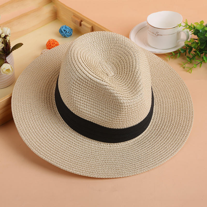 Wholesale high quality straw hat fashion cheap panama hats unisex plain summer sun hat