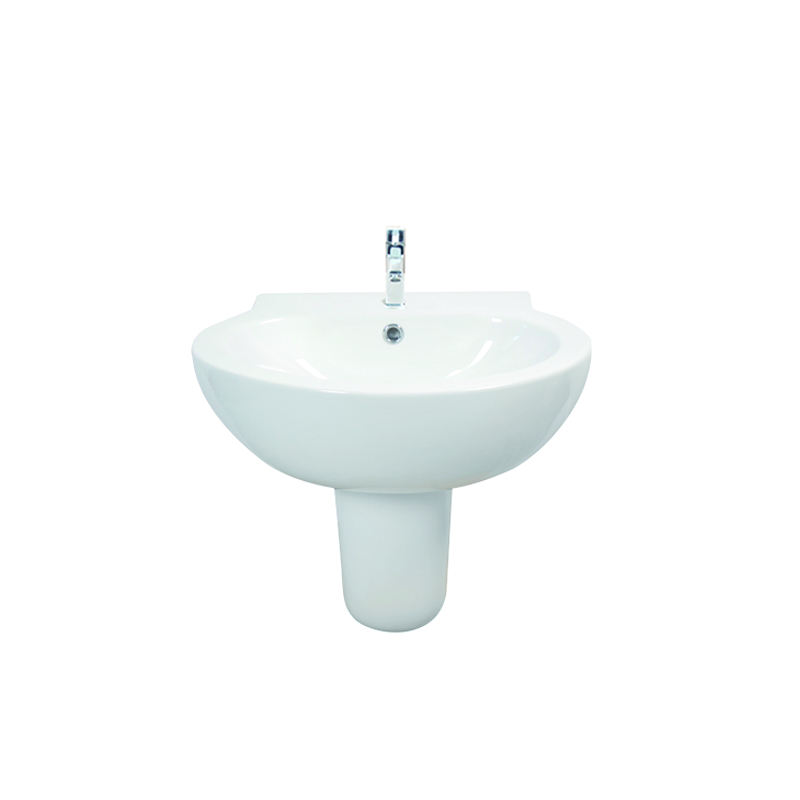 hot selling single hole ceramic sinks High quality wall hung wash hand sink custom semi pedestal cheap basin