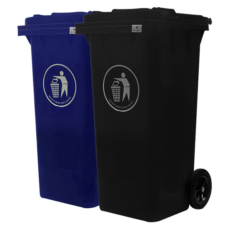 120 l/liter outdoor plastic waste bin wheeled garbage container