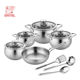 12 pcs custom cooking pot set induction stainless steel cookware set with kitchen utensil