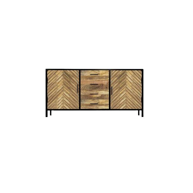 Industrial Furniture Mango Wood 4 Drawers TV Unit Stand / Tvc