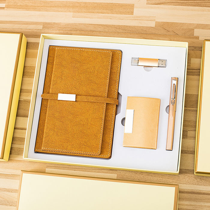 Business Customized A5 Plain Notebook + Pen + USB Flash Drive + Name Card Holder Gift Set