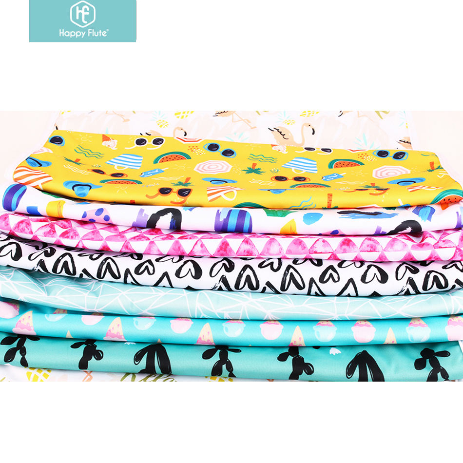 Happyflute wholesale waterproof fabric for cloth diapers waterproof print PUL minky fabric solid plain cloth diaper fabric