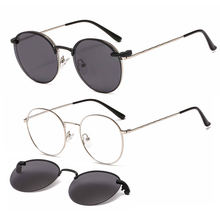 metal optical frame with clip on polarized sunglens round shape fullrim prescription sunglasses for ladies 33073
