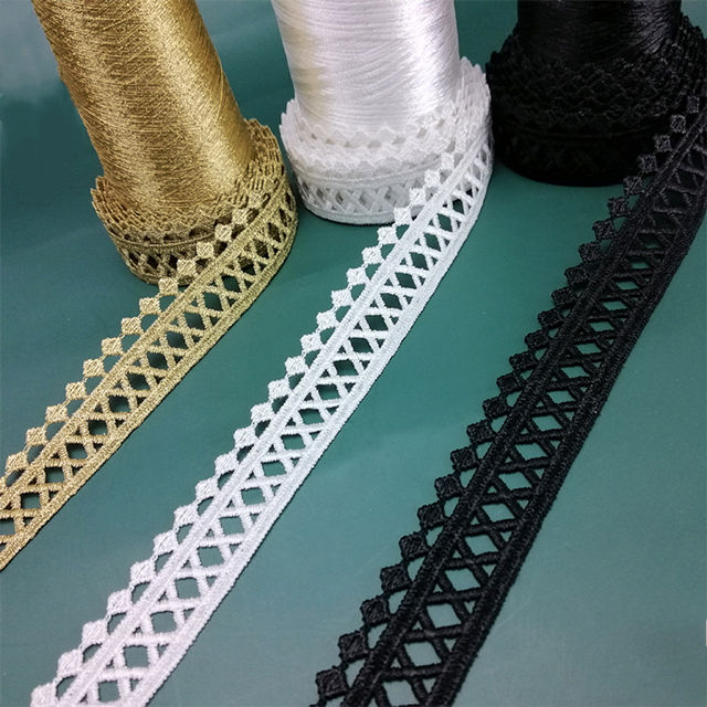 High quality cheap water soluble 2.5cm embroidered decorative lace trim for garment