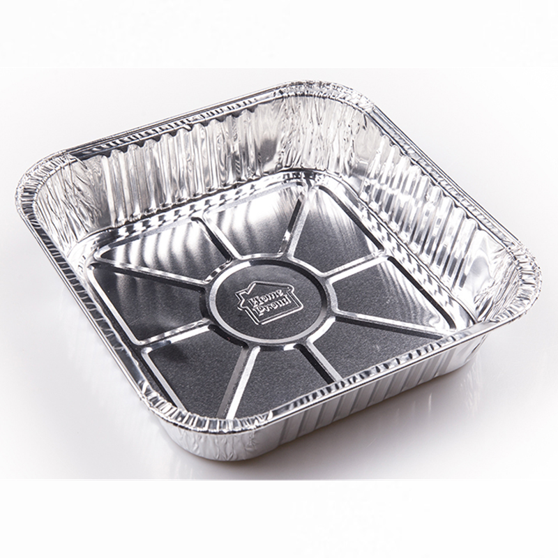 Square aluminum foil food packing box disposable aluminum foil baking trays with clear lid