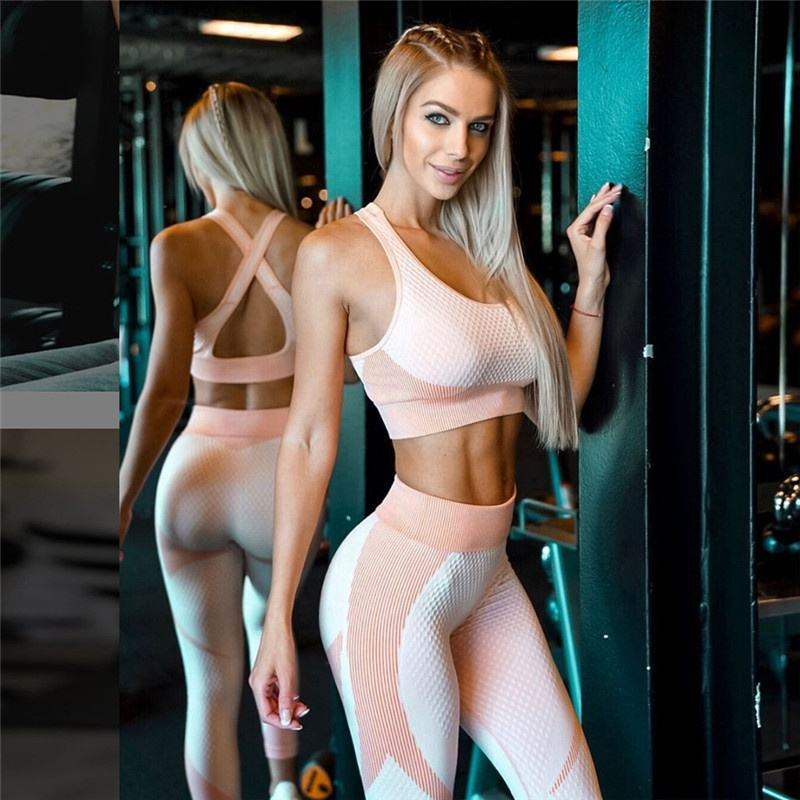2021 New Yoga Workout Open Back Gym Bra Fitness Women Seamless Leggings Set