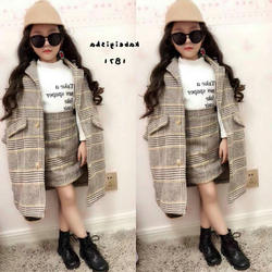 2020 wholesale classic new autumn plaid kids baby toddler coat girl with matching skirts