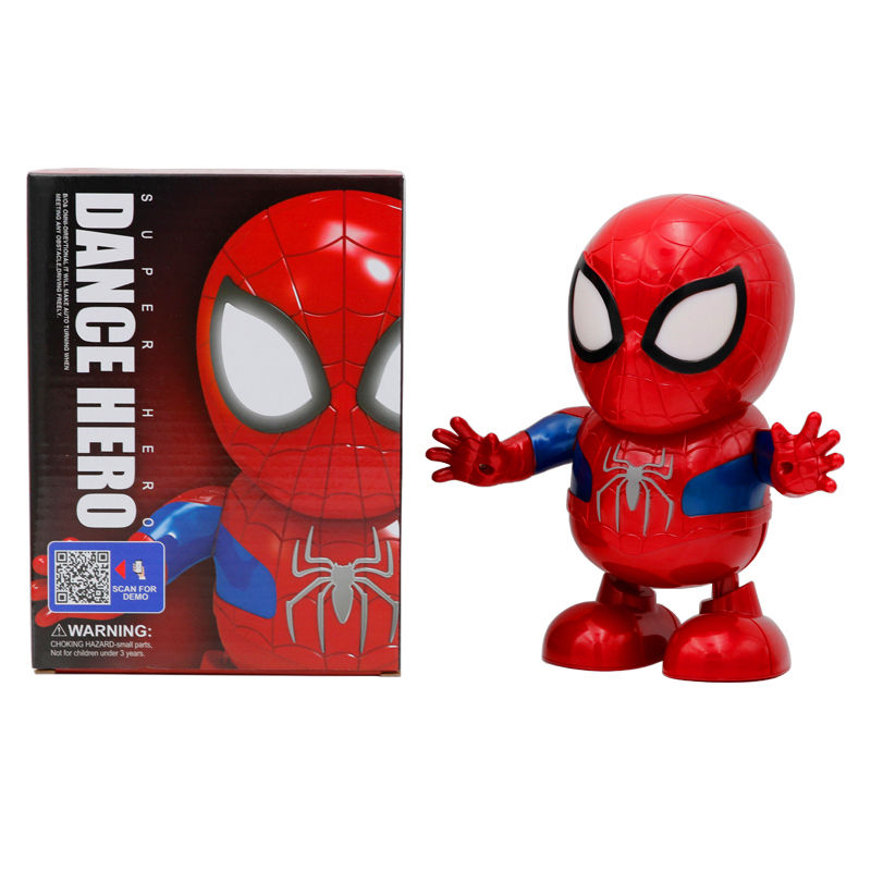 Battery operated toys dancing spider hero superman action figure electronic toy dancing hero with light and music for kids