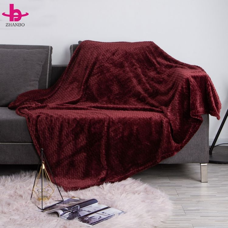 Nordic Style 3D Embossed Luxury Flannel Fleece Blanket W Line Jacquard Blanket