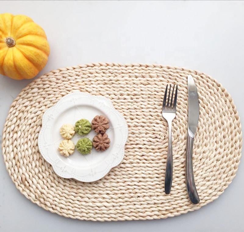 Eco-friendly biodegradable natural straw rattan woven table mat placemat