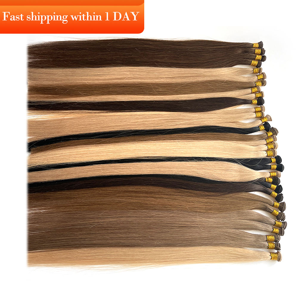 Luxury rsd hand tied double hair weft hand tied weft hair extension ginger