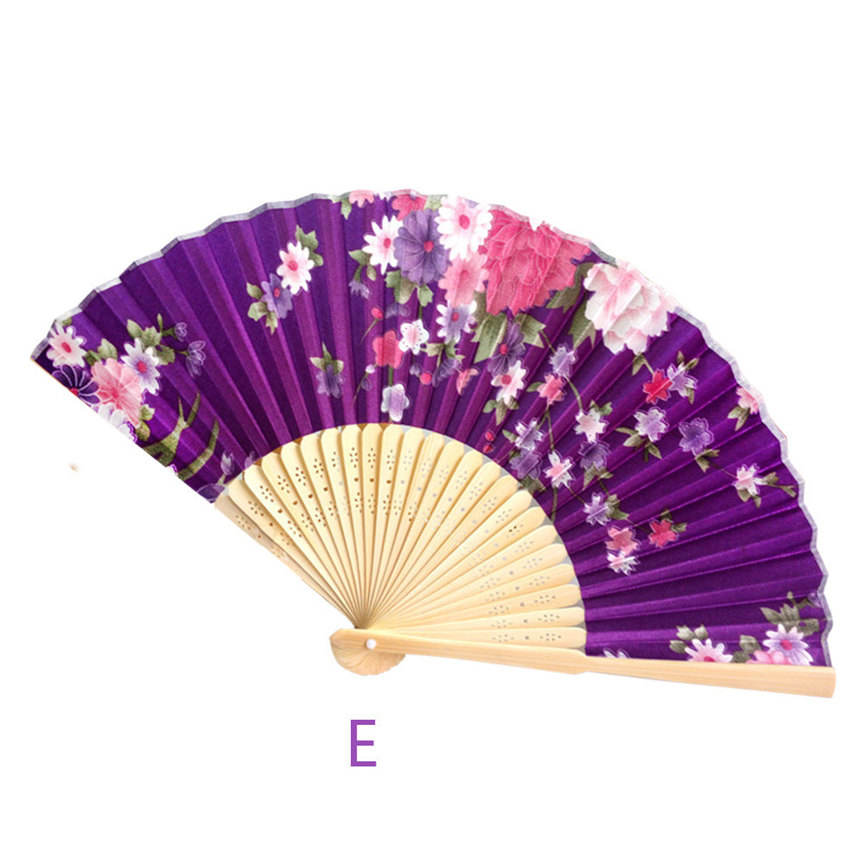 QY Chinese Prom Pocket Gift Wedding Colorful Water Drop Holder Fan Summer Retro Bamboo Folding Hand Fan