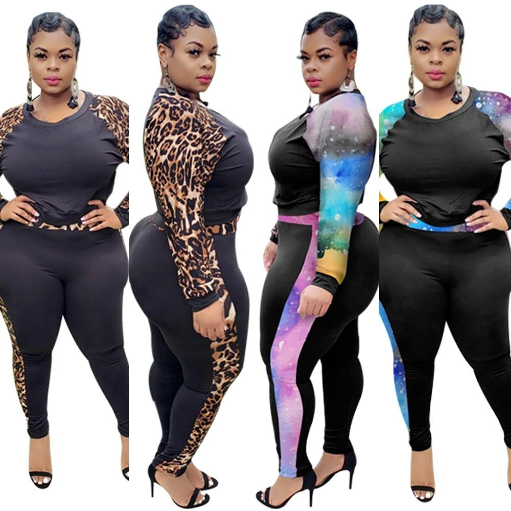 vendors clothing new fall pants suit leopard print stitching long-sleeved trousers women 2-piece set sexy nightclub clothes