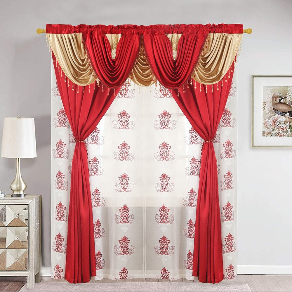 China Wholesale Modern Europe Style Crush Satin Valance Curtains for the Living Room Luxury Window Curtain Set