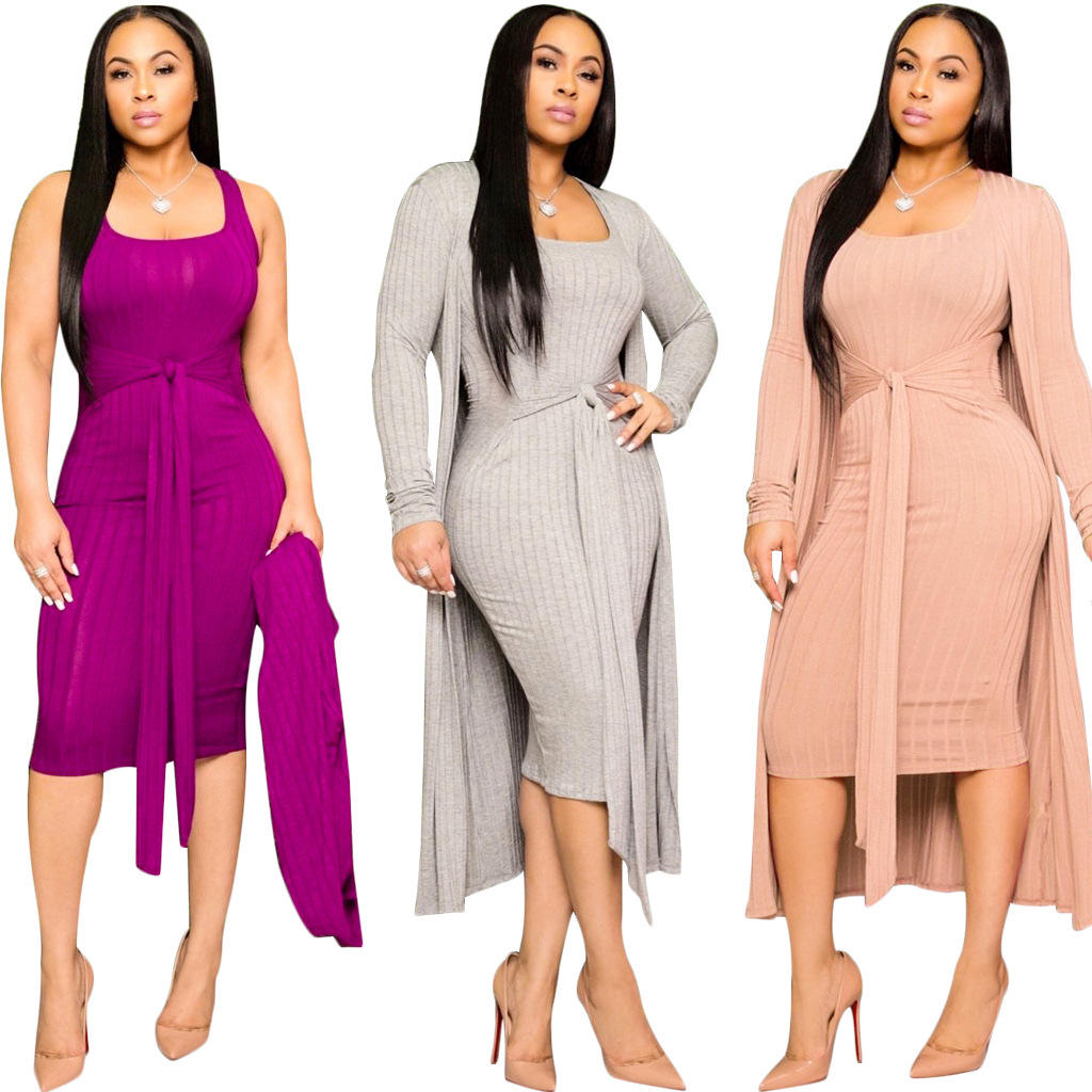 MXN Wholesale two piece set boutique women clothing lady fashion ribbed knitted long coat and bodycon dress fall women clothing