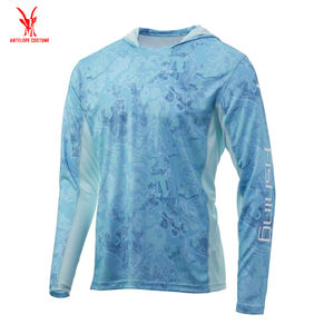 Custom Design Your Own Dye Sublimation 100% Polyester Lightweight Dri Fit Mens Long Sleeve Hoodie Fishing Shirt