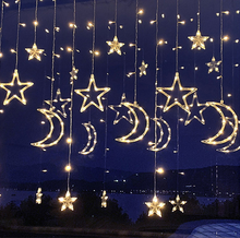 Christmas style led decoration curtain string lights top quality star shape
