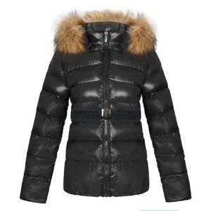 2019 Winter Ladies Clothes Faux Leather Padded Jacket Warm Women Down Coat with Fur Collar