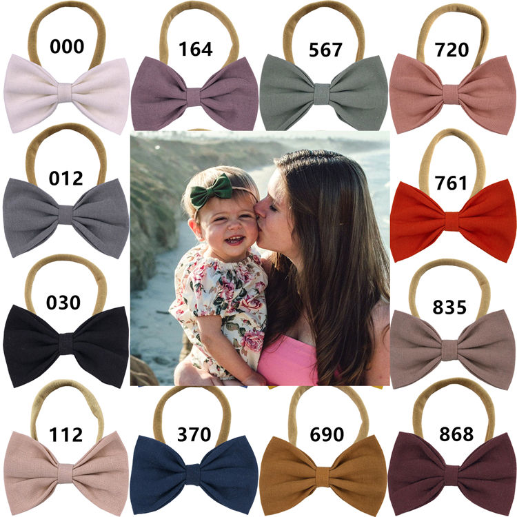 Toddler Baby Girls Sweet Cotton bow headbands Hair bow Elastic bands Soft Thin Nylon Headband Linen fabric Hair Accessories
