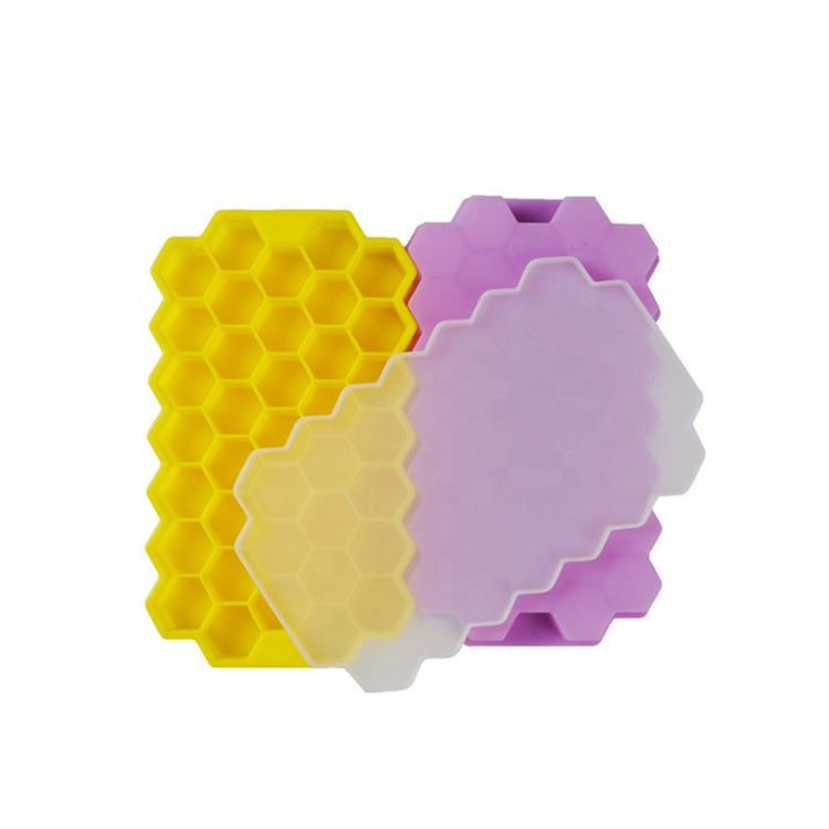 Little Bees Silicone Honeycomb Ice Cube Tray With Lids Flexible Storage Container