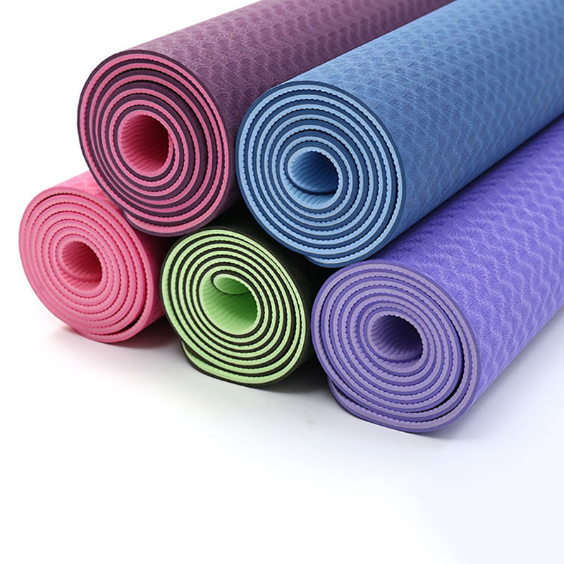 Factory Supplier Double Sided Color Anti Slip 183*61 6MM TPE Yoga Mat