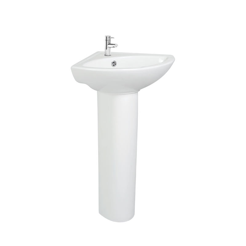 Modern Bathroom Ceramic Sanitary Ware Basin Sink with Full Pedestal - Gloss White Finish