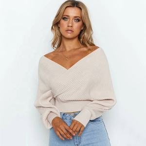 Winter Leisure style trendy solid color off shoulder sweater women