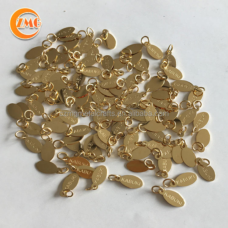 A-Grade 18k gold stainless steel Small logo engraved custom oval shape metal jewelry tags for bracelet/necklace