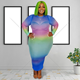 Tie Dye Dress 2020 Fall Casual Ladies Tie Dye Plus Size Women Clothing Bodycon Oversized Midi Dress