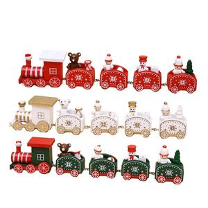 SJ0448 sale wooden showcase ornaments artificial cartoon small train christmas decorations