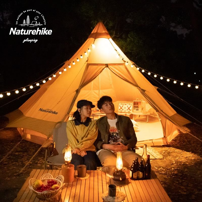 Naturehike Brighten 12.3 outdoor luxury glamping pod cotton canvas pyramid tent camping Tipi Desert Teepee tent