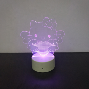 Table Lamps Item Type Hello Kitty LED Light 7 Colors Changing Night Light 3D Acrylic Lamp