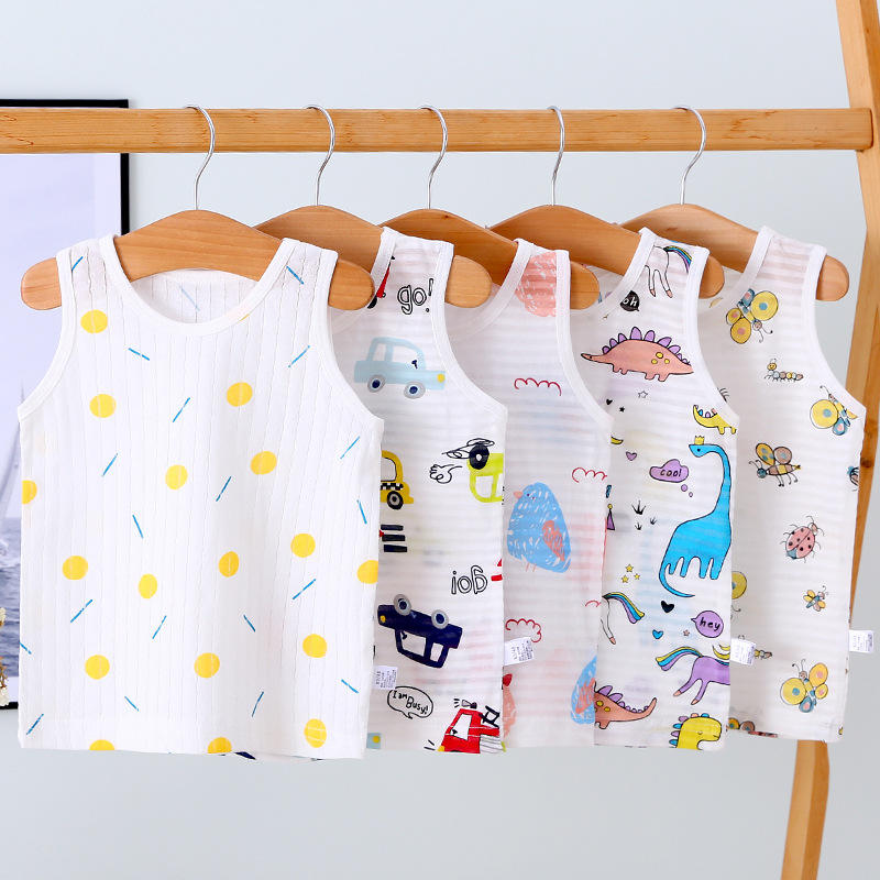 Children's vest summer thin section 100% cotton baby clothes summer 0-6 years old male baby clothing wholesale