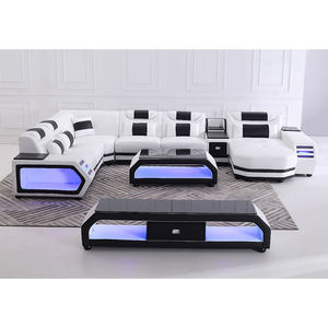 Modern European U Shape Furniture Genuine Leather Living Room Sectional Leisure Corner LED Light Sofa