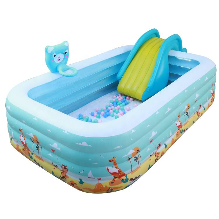 Blow Up Inflatable Pool Play Center Outdoor Inflatable Pool with Slide