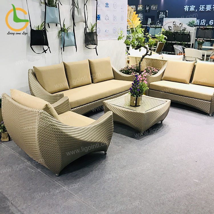 New style high end patio furniture 123 rattan living room latest sofa set